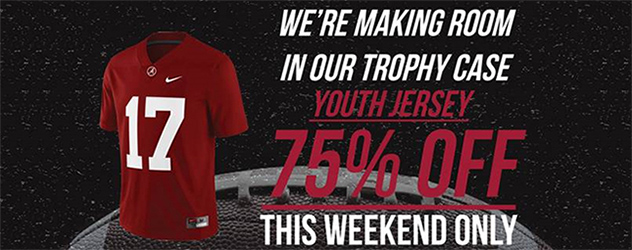 We're making room in our Trophy Case.  Youth #17 Jerseys 75% off.  This Weekend Only.