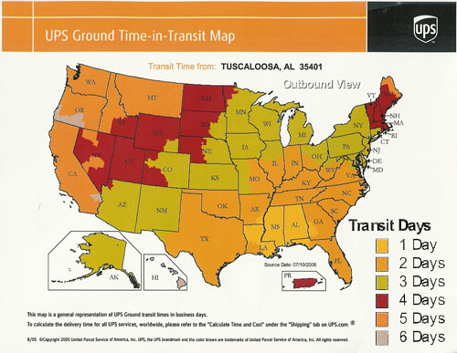UPS shipping transit time by state