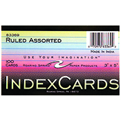 Index Card 3 X 5 Assorted Multi Color