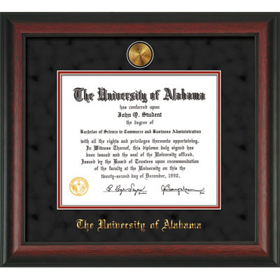 Alabama Diploma Frame Rosewood W/Gold Lip-W/Medallion-Bk Suede On ...