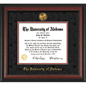 Alabama Diploma Frame Rosewood W/Gold Lip-W/Medallion-Black Suede On Crimson