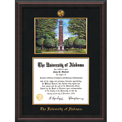 Frame Diploma Mahogany Braid W/Med W/Wtrcolor W/Filet Black Suede (SKU 11649571122)