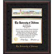 Frame Diploma Mahogany Braid-W/3-D Collage-Black Suede/Gold Mat