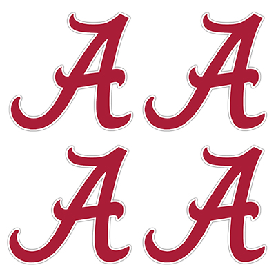 Alabama Script A White Outline Game Face Tattoo (SKU 1237912599)
