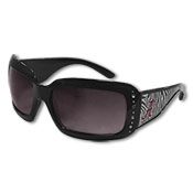 Zebra Black Square Frame Women's Sunglasses