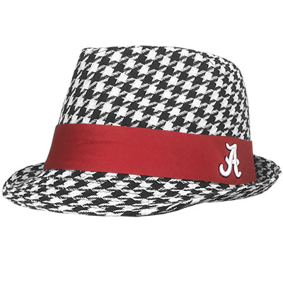 Houndstooth Fedora Red Trim With Script A
