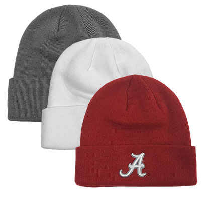 Alabama Tow Cuff Knit Hat With Script A