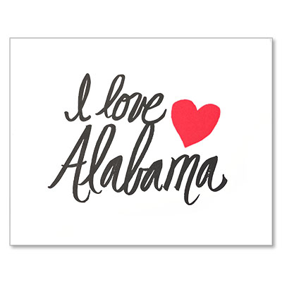 Letterpress I Love Alabama Print