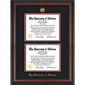 Frame Diploma Rosewood Double Bk/Red W Medallion