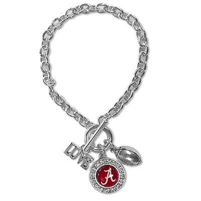 Alabama Multi Three Charm Football Bracelet