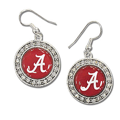 Alabama Crystal Circle Dome Earrings