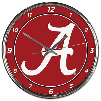 Alabama Script A Chrome Clock