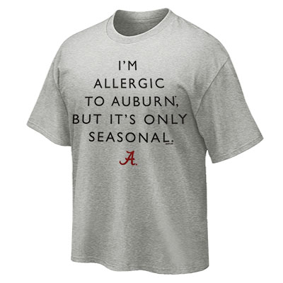 T-Shirt Allergic To Auburn