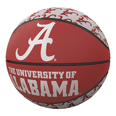 Alabama Repeating Script A Logo Mini Size Rubber Basketball