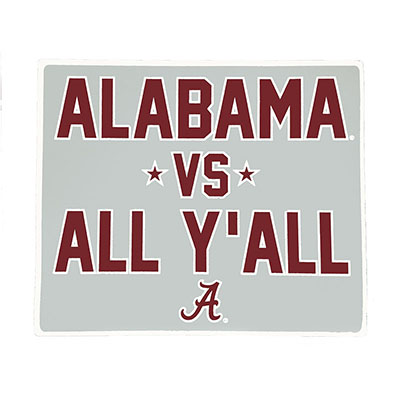 Alabama Vs All Y'all Decal