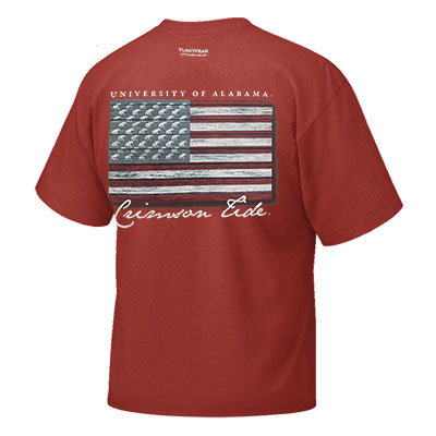 UNIVERSITY OF ALABAMA CRIMSON TIDE DISTRESSED AMERICAN FLAG T-SHIRT
