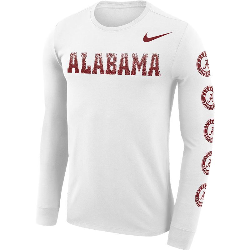 Alabama Nike Men s Dri-Fit Cotton Long Sleeve Logo Sleeve ... 578f013f797b