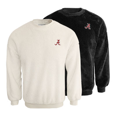 Alabama Script A Double Plush Slouchy Drop Shoulder Crew