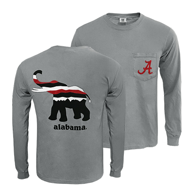 491403a599c5 Alabama Comfort Color Crew Neck Long Sleeve T-Shirt With Pocket