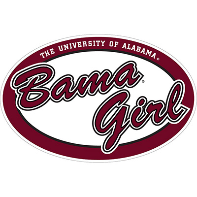 Oval Bama Girl Red Decal