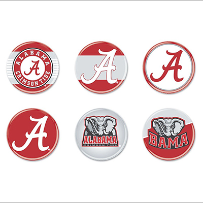 University Of Alabama 6 Pack Of Buttons