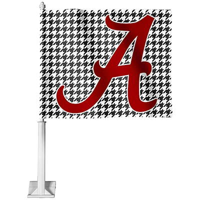 Houndstooth With Script A Car Flag
