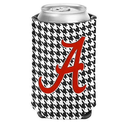 Houndstooth With Script A Can Cooler