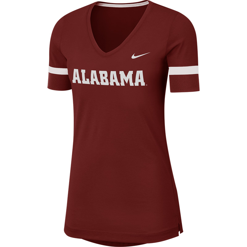 Alabama Nike Women's Dry Short Sleeve Fan V-Neck Top (SKU 13254681158)