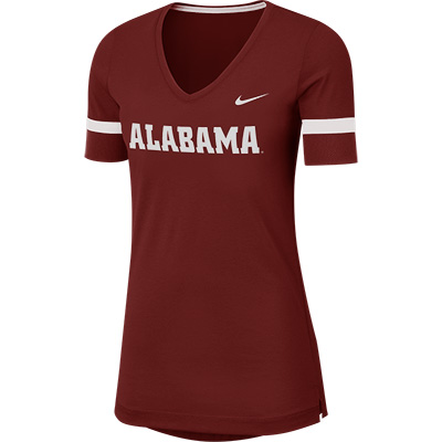Alabama Nike Women's Dry Short Sleeve Fan V-Neck Top