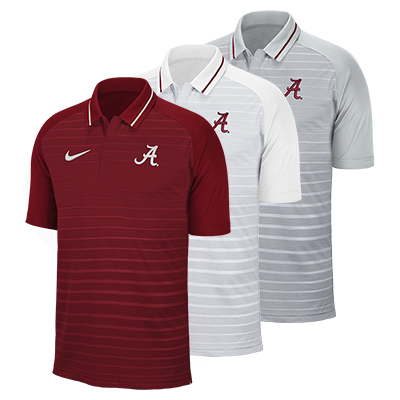 Clearance - Alabama Script A Nike Stripe Polo