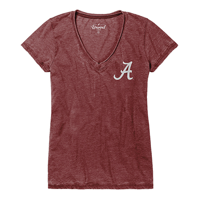 Alabama Women's Distressed V-Neck T-Shirt