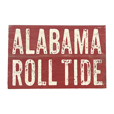 Alabama Roll Tide Shiplap Small Sqaure Block