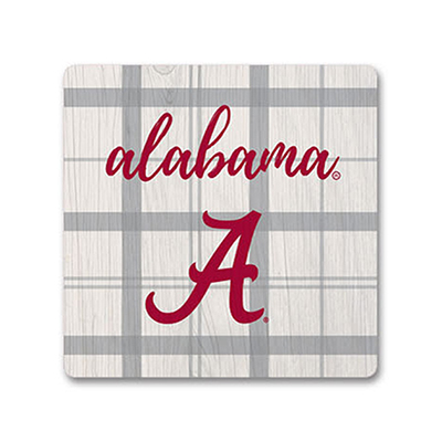 Alabama School Plaid Square Wood Magnet