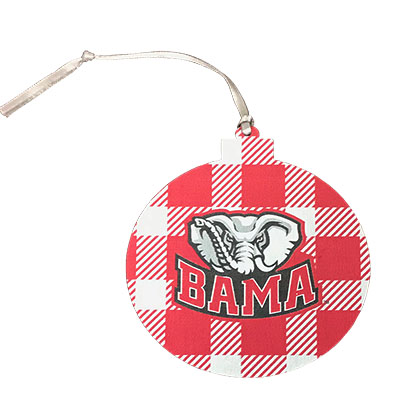 Bama Buffalo Plaid Round Ornament