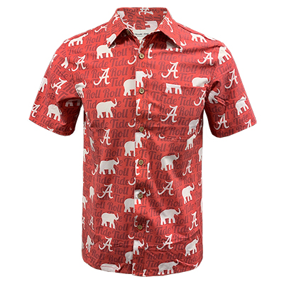 Alabama Woven Hawaiian Shirt With Elephants