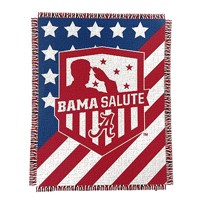 Alabama Double Sided Jacquard  Salute To Service Throw Blanket