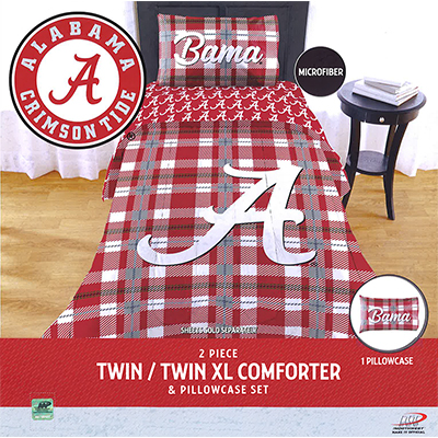 Alabama Tartan Twin Comforter With Pillow Sham