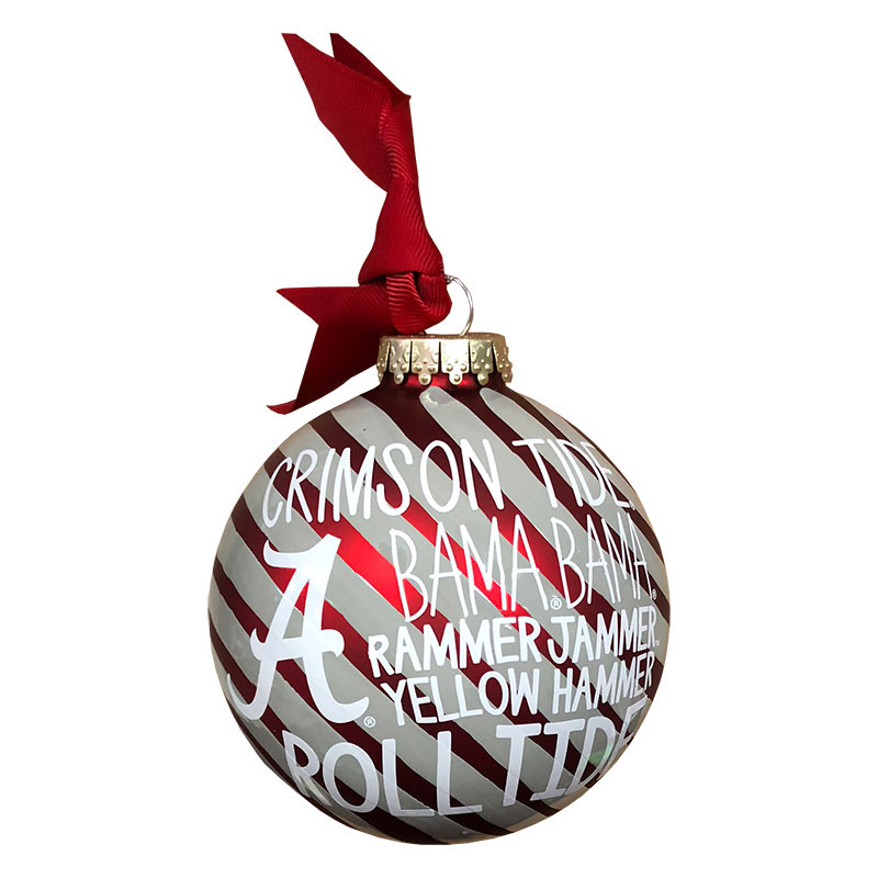 University Of Alabama Word Collage Glass Ornament