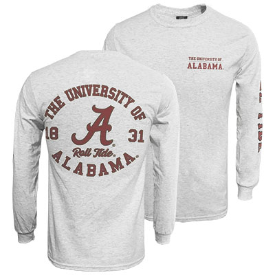 Alabama Classic Long Sleeve T-Shirt With 3 Design Locations
