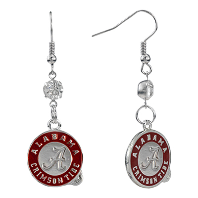 Alabama Circle Logo Dangle Earrings