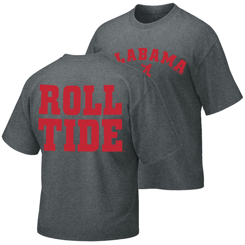 Alabama Arched With Script A And Roll Tide On Back T-Shirt (SKU 13297268102)