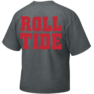 ALABAMA ARCHED WITH SCRIPT A AND ROLL TIDE ON BACK T-SHIRT