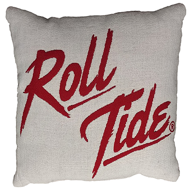 ALABAMA DOUBLE SIDED JAQUARD CIRCLE LOGO ROLL TIDE PILLOW