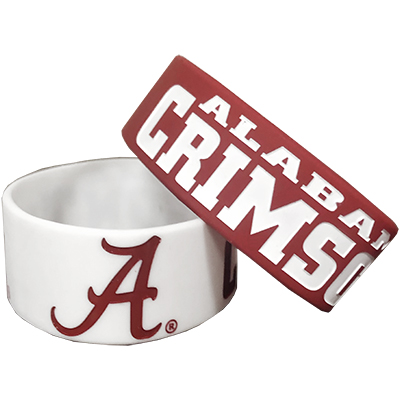 University Of Alabama Wide Silicone Bracelet Set Of 2