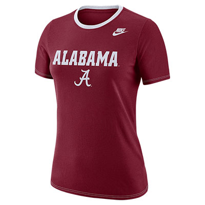 ALABAMA WOMEN'S NIKE DRI-FIT COTTON CREW SHIRT WITH SCRIPT A