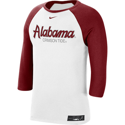 Alabama Men's Nike Dri-Fit Cotton Baseball 3/4 Sleeve Raglan Shirt