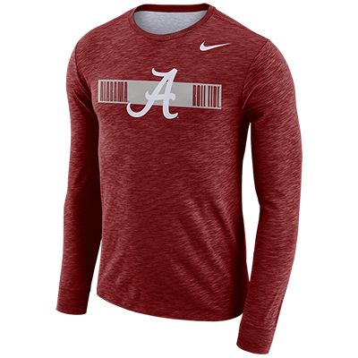 ALABAMA ROLL TIDE DRI-FIT COTTON LONG SLEEVE SLUB LOGO T-SHIRT