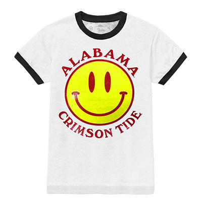 Alabama Crimson Tide Smiley Face Ringer T-Shirt