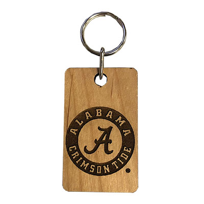 Alabama Circle Logo Wood Keychain