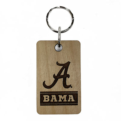 Script A Over Bama Wood Keychain